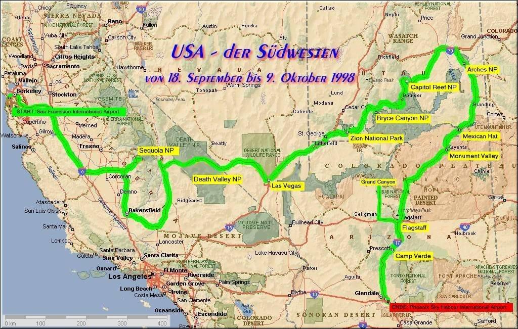 Usa Der S 252 Dwesten Die Landkarte Zur Reiseroute